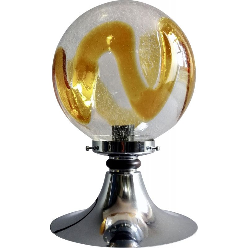 Mid-century lamp in chrome and art glass from Murano, Italy 1960
