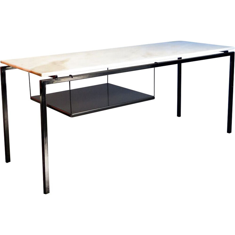 Vintage black metal table with marble top and shelf, 1970s