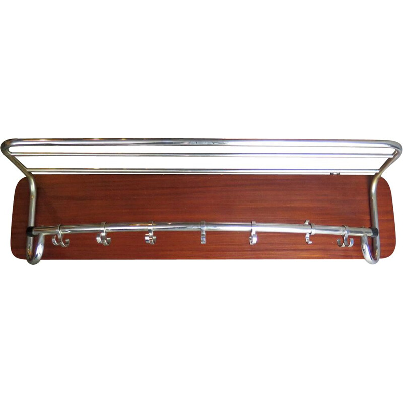 Mid-century wooden coat rack in chrome-plated wood, 1950