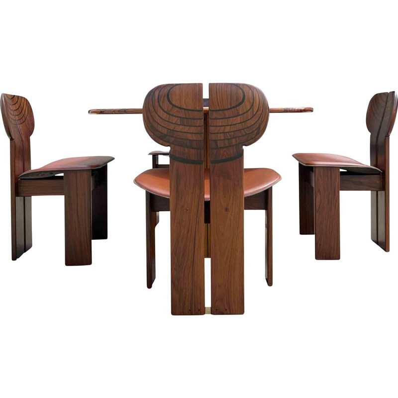 """Dining set vintage 4 """"Africa"""" chairs and  """"Artona"""" table by Afra and Tobia Scarpa for Maxalto, 1975s"""