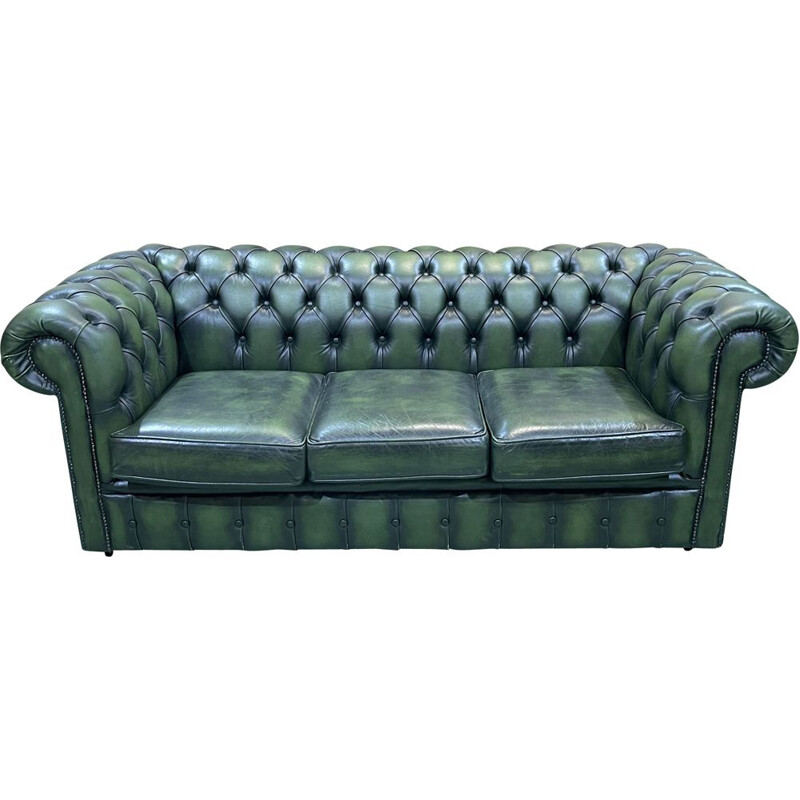 Vintage Chesterfield 3 seater sofa in green leather, 1970