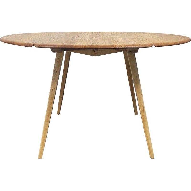 Vintage round table with flap by Ercol, 1960