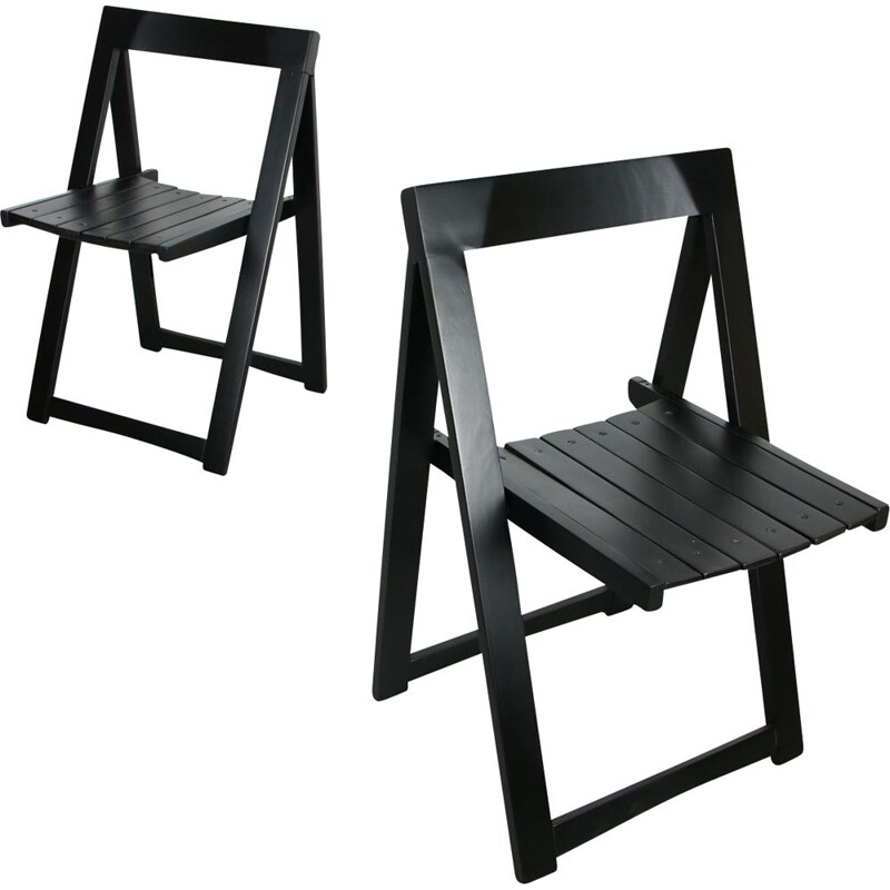 Pair of vintage folding chairs Trieste by Aldo Jacober for Bazzani