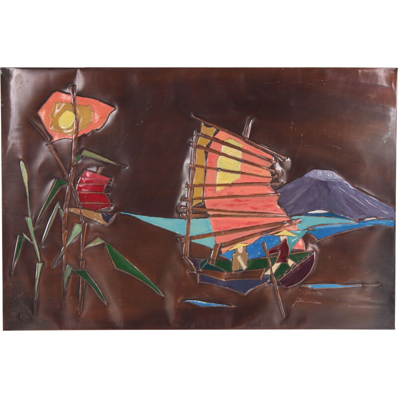 Vintage copper wall decoration with enamelled boats, Germany 1960