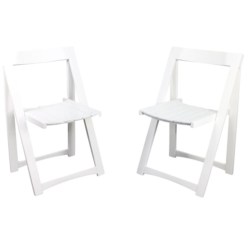 Pair of vintage white Trieste folding chairs by Aldo Jacober for Bazzani