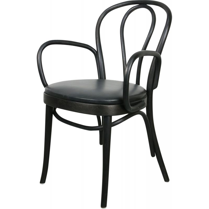 Vintage No.18 black leather chair with armrests by Michael Thonet