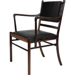 """P. Jeppesen """"PJ-3011"""" armchair in rosewood and black leather, Ole WANSCHER - 1960s"""