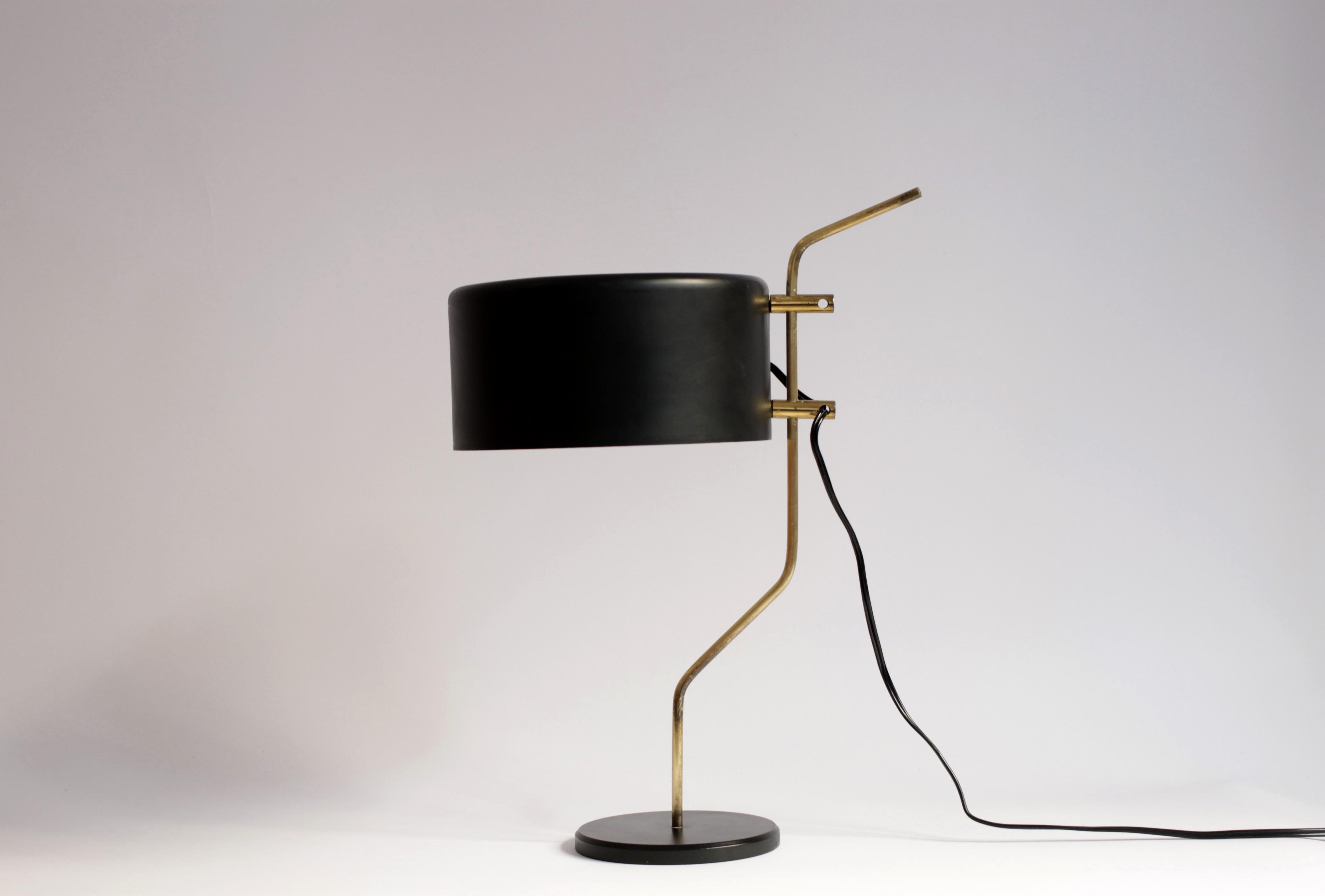 Lunel Desk Lamp In Brass And Black Metal 1950s Design Market