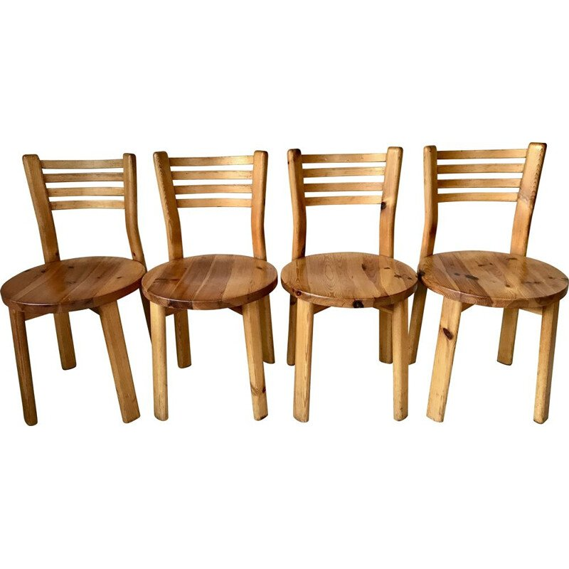 Set of 4 vintage solid pine chairs, France 1970