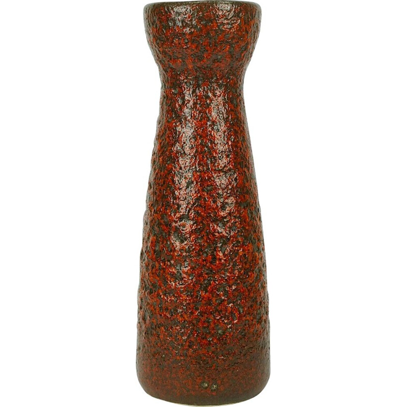 Vintage model 520-32 fat lava glaze in red and black vase by Scheurich, 1960s