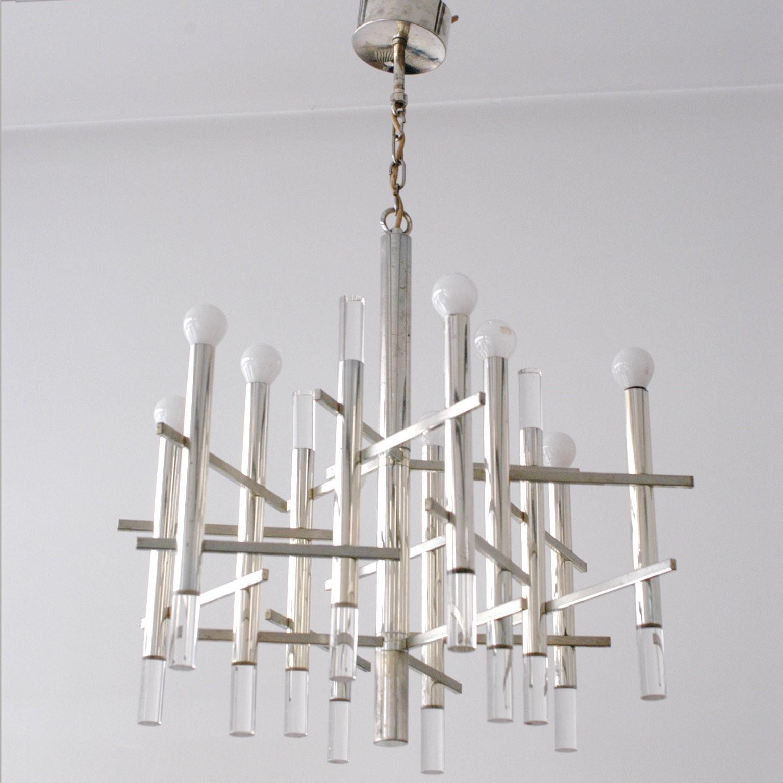 Chrome and Lucite chandelier Gaetano SCIOLARI 1970s Design Market