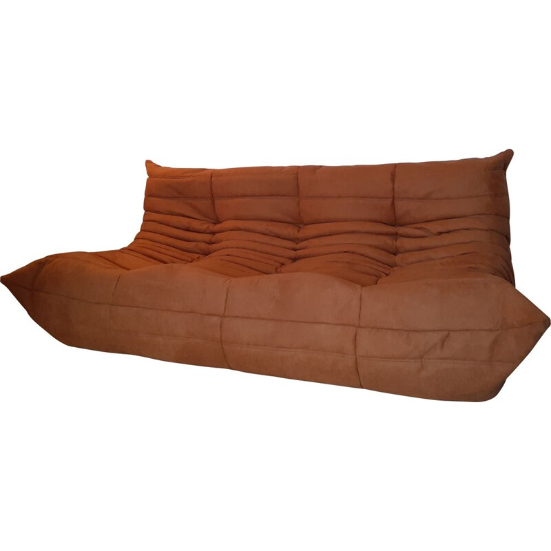 Vintage three-seater sofa in camel and terracotta for Togo Ligne Roset