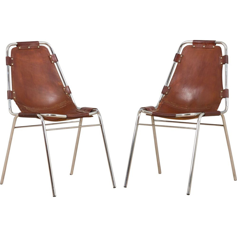 Pair of vintage chairs in brown cowhide leather for Charlotte Perriand for Les Arc, 1960s