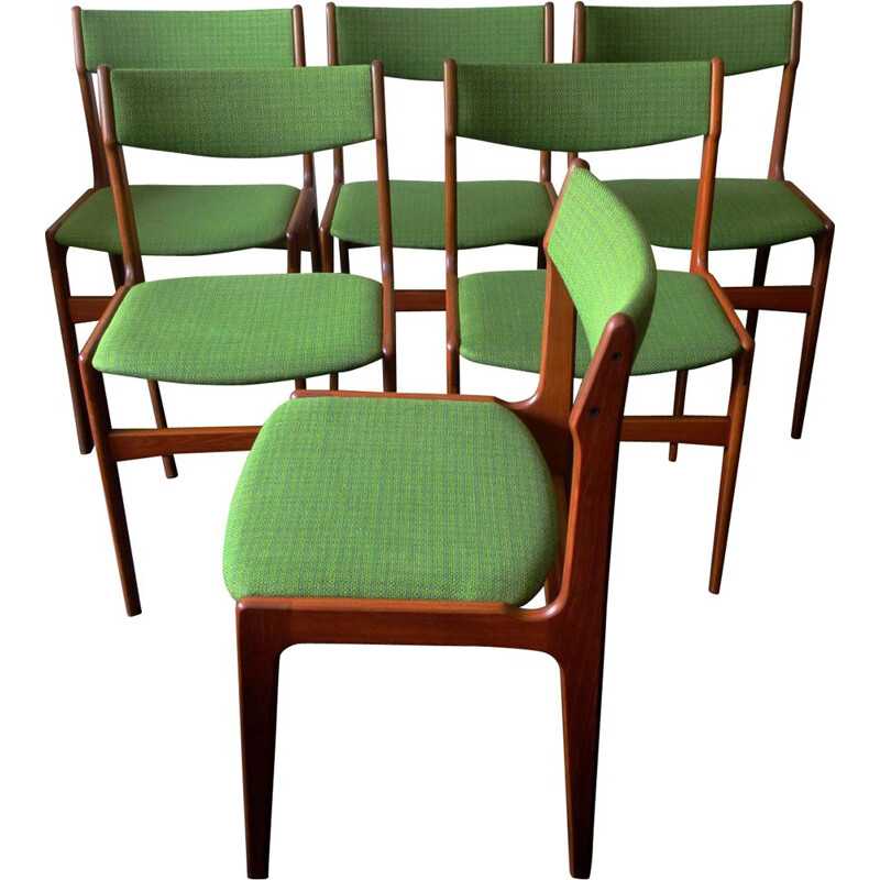 Set of 6 vintage teak and green wool fabric chairs by Erik Buch, Denmark 1960s