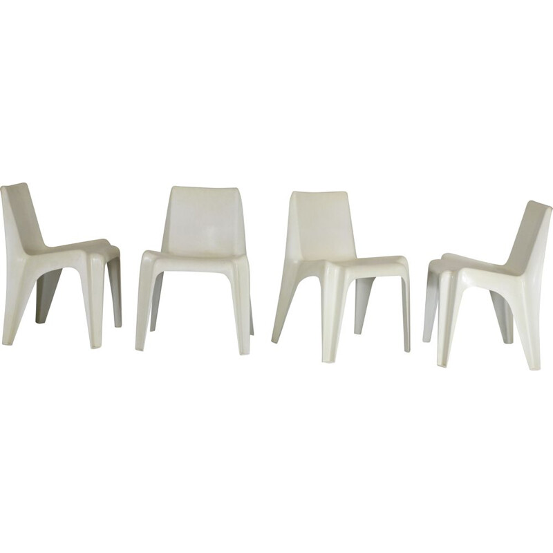 Set of 4 vintage Bofinger chairs in fiberglass and resin by Helmut Battzner, 1970