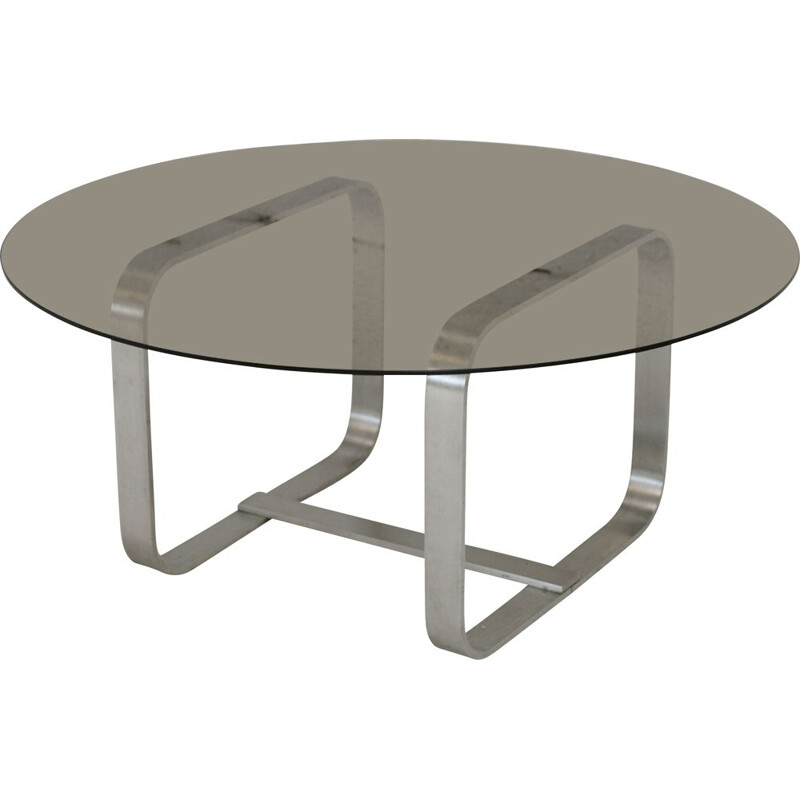 Vintage aluminium and glass coffee table, France 1970s