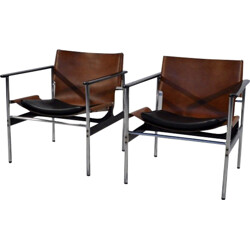 """Pair of Knoll """"Sling"""" armchairs in brown leather and steel, Charles POLLOCK - 1960s"""