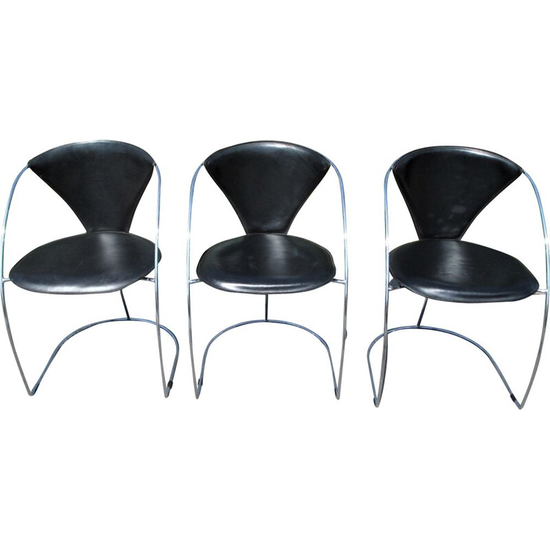Set of 3 vintage Linda leather chairs by Arrben, Italy 1980s
