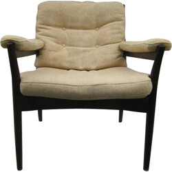 Swedish mid-century armchair in beige fabric and dark walnut - 1970s
