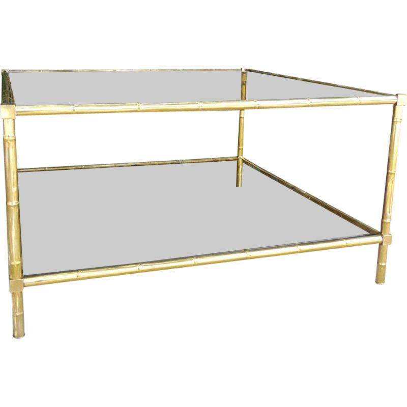 Brass vintage coffee table in bamboo shape smoked glasse by Maison Bagues
