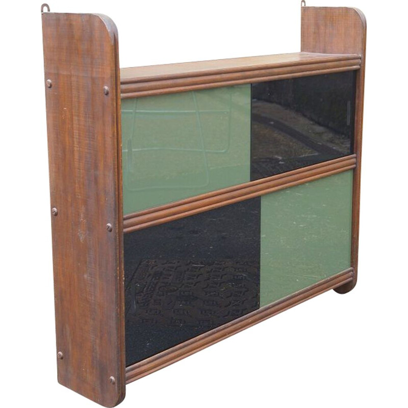 Vintage wood and glass wall cabinet, 1950