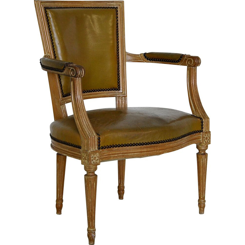 Vintage Louis XVI style beechwood and leather armchair by Maison Jansen, France 1960