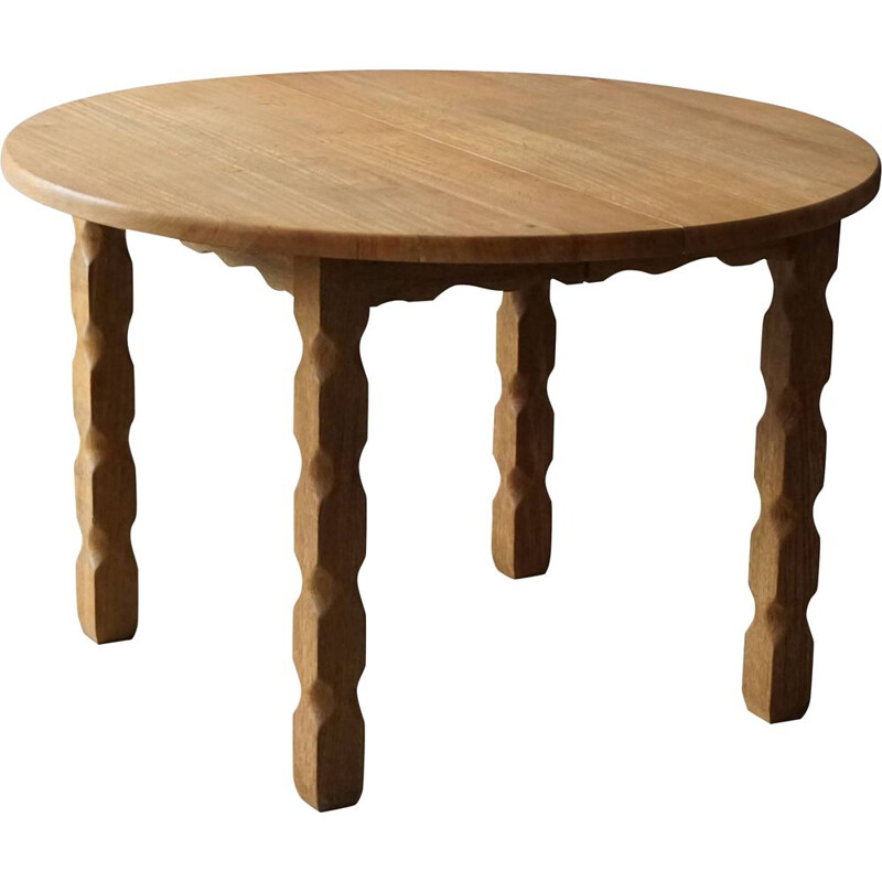 Mid century Danish round dining table in solid oakwood with two extensions, 1960s