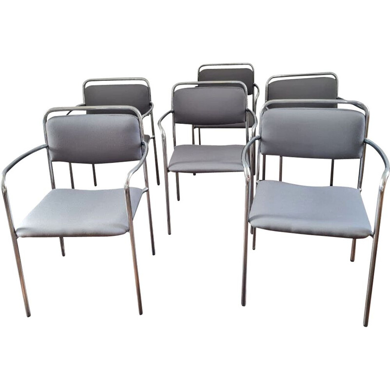 Set of 6 vintage grey chairs with armrests, GDR 1970s