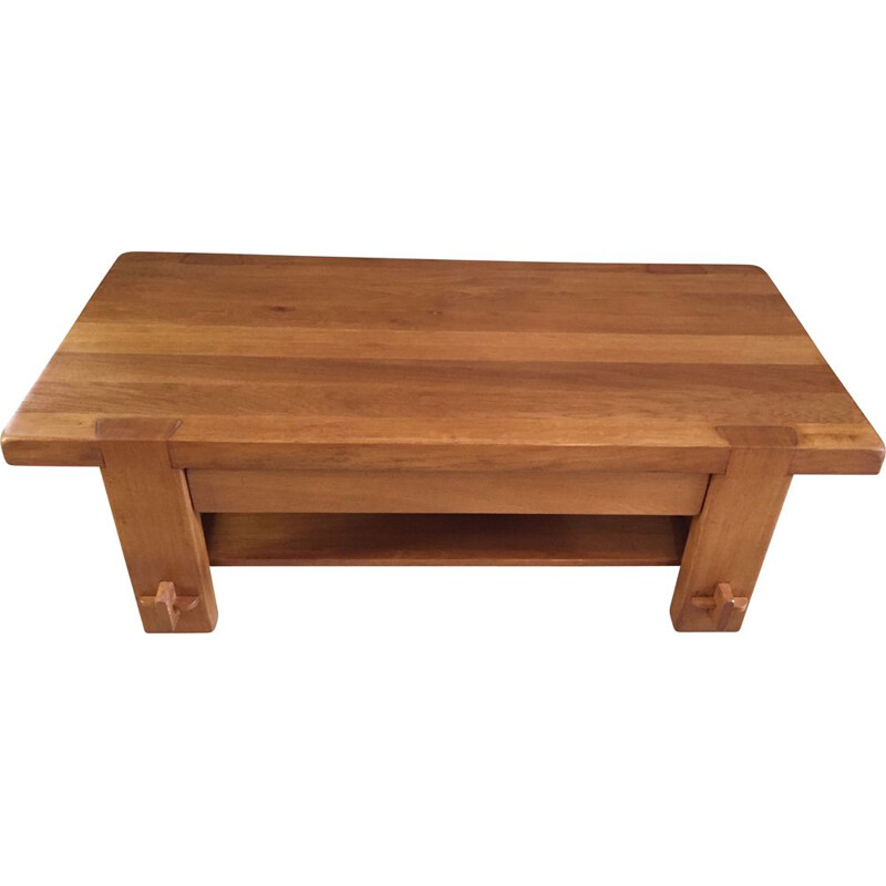 Vintage solid elmwood 2 tier coffee table by Pierre Chapo, 1960
