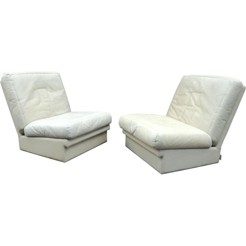 Pair of vintage leather armchairs by Steiner, France 1970