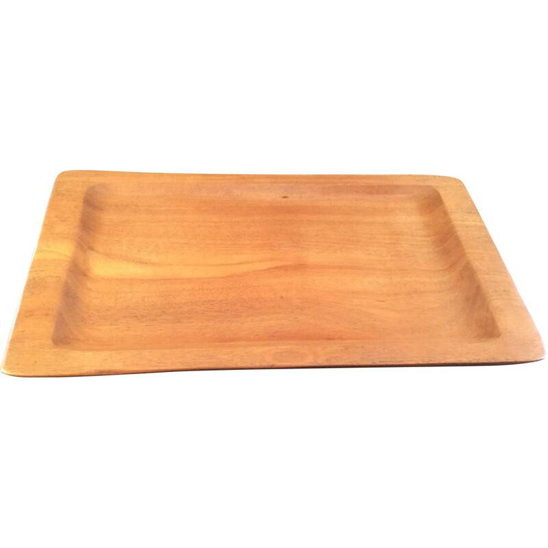 Vintage rectangular tray in exotic wood by Alexandre Noll, 1950