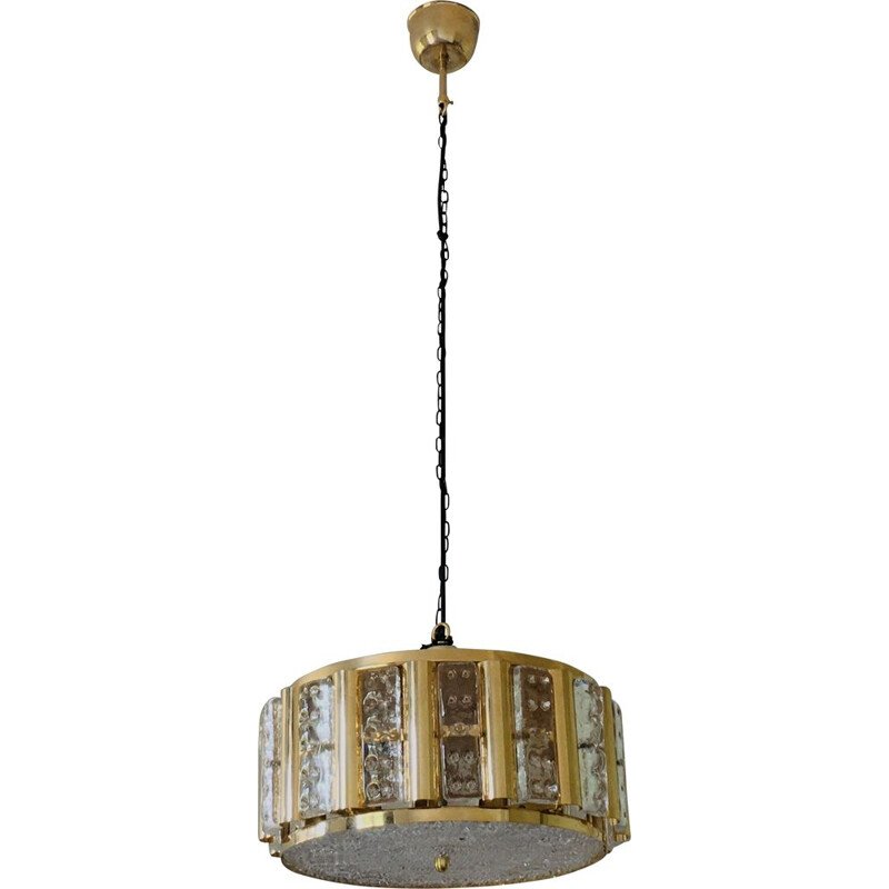 Mid-century Hollywood Regency brass and glass pendant lamp by Carl Fagerlund for Orrefors, 1960s