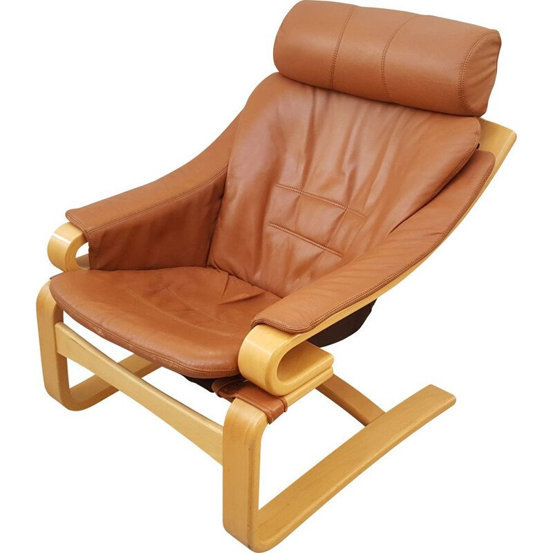 Danish Apollo vintage natural brown leather lounge chair by Svend Skipper for Skipper, 1970s