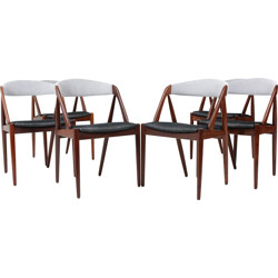 Set of 6 SVA Møbler chairs in teak and black and white fabric, Kai KRISTIANSEN - 1960s