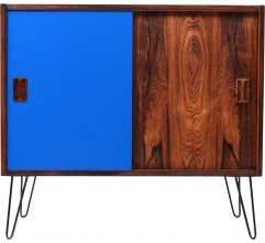 Blue cabinet in rosewood with hairpin legs in metal - 1960s