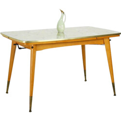 Height-adjustable and extendable table with patterned glass top - 1950s