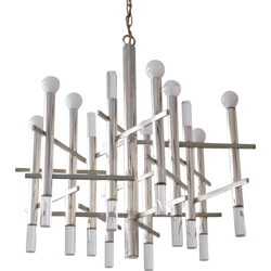 Chrome and Lucite chandelier, Gaetano SCIOLARI - 1970s