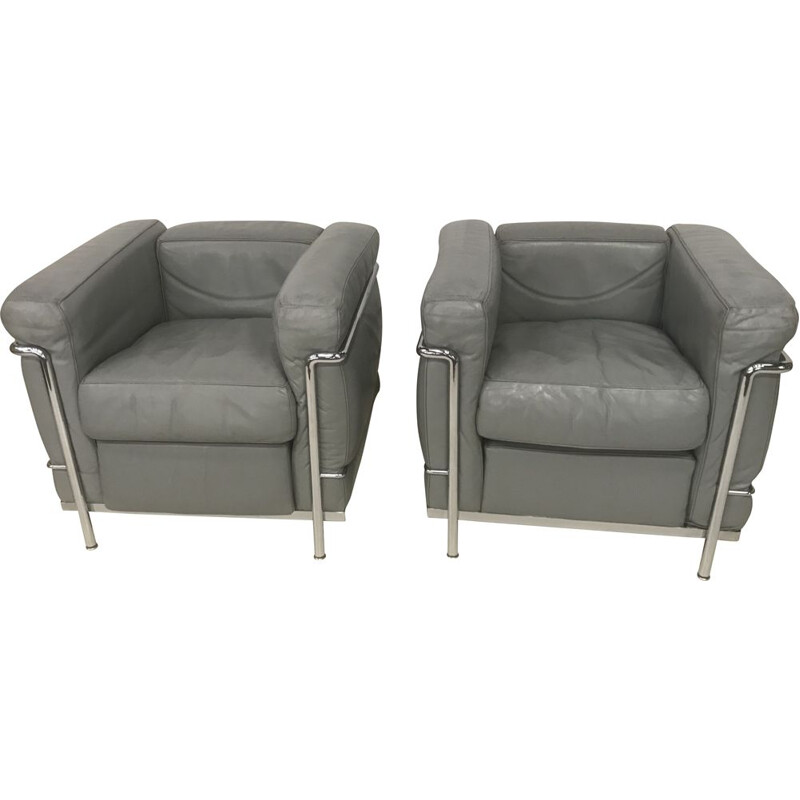 Pair of vintage LC2 armchairs by Le Corbusier for Cassina, 1970