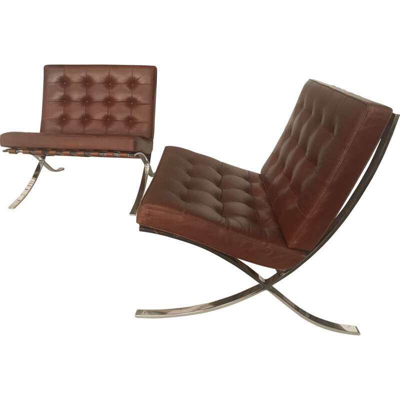 Pair of vintage Barcelona armchairs by Mies Van Der Rohe for Knoll International, 1965