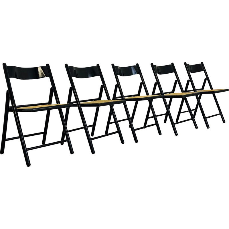 Set of 5 vintage folding chairs in cane and black lacquer, 1970