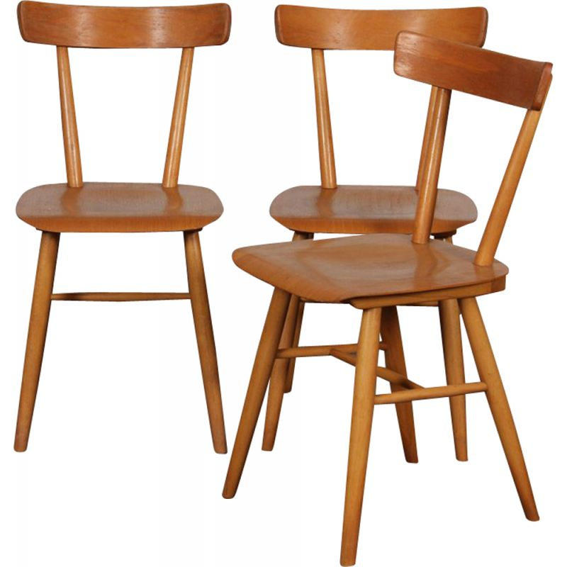 Set of 3 vintage chairs by Ton, 1960