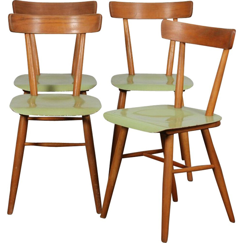 Set of 4 vintage green chairs by Ton, 1960