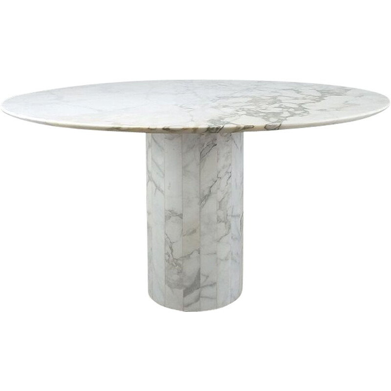 Vintage round table in marble by Jean Charles for Roche Bobois, 1970