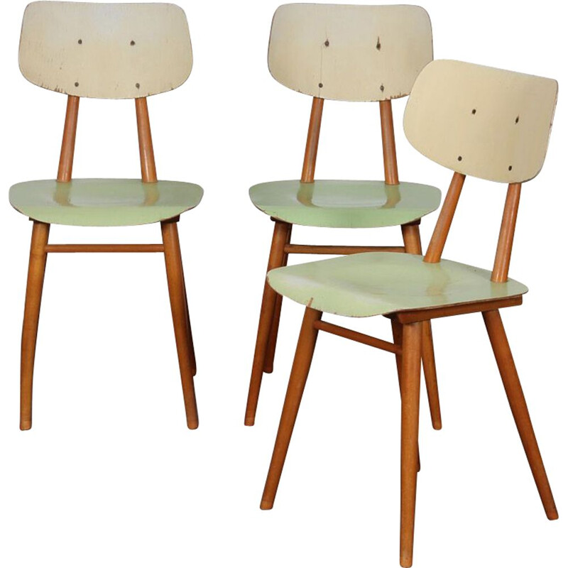 Set of 3 vintage chairs by Ton, Czech Republic 1960