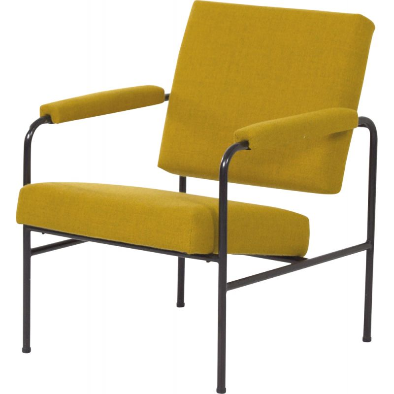 Mid century yellow G 3015 armchair by W.H. Gispen for Riemersma, 1960s