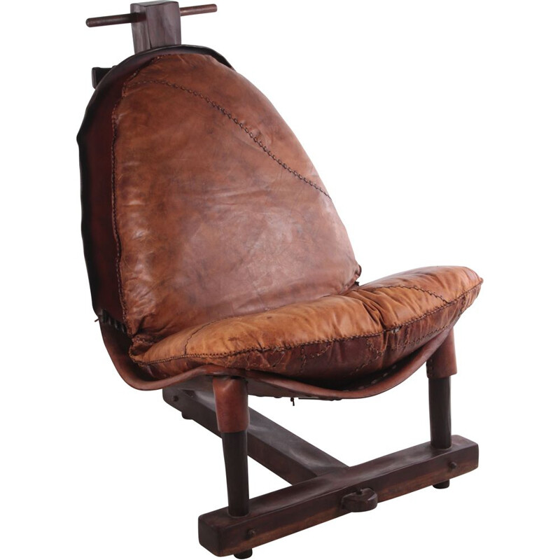 Brazilian vintage patched leather armchair, 1960s