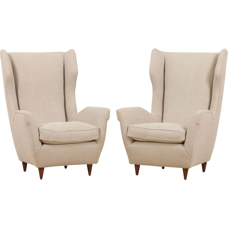 Pair of vintage Italian Wingback lounge chairs model 512 by Gio Ponti, 1950s