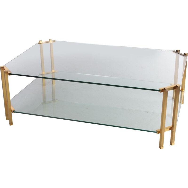 Vintage Hollywood Regency style coffee table with brass detail, Italy 1970s