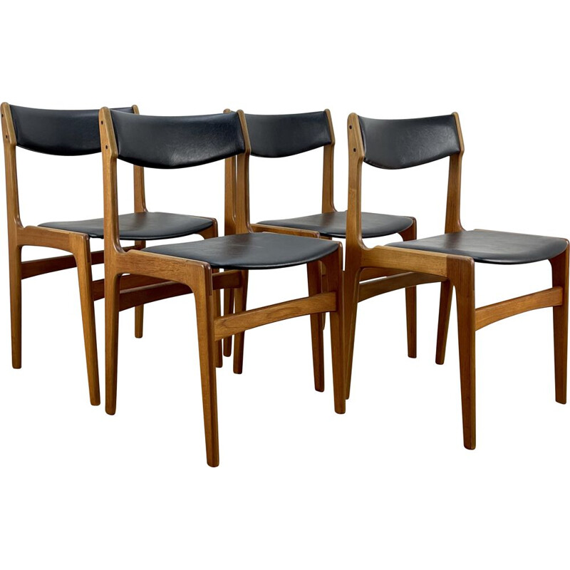 Set of 4 mid century chairs by Erik Buck for O.D Mobler, 1960s