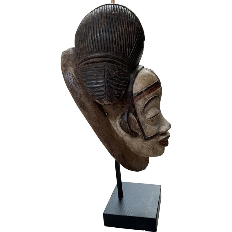 Vintage Congolese mask in wood and base